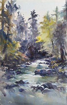 "Sol Duc River, Olympic National Park by Shuang Li Watercolor ~ 18"" (46CM) x 12"" (30CM)"
