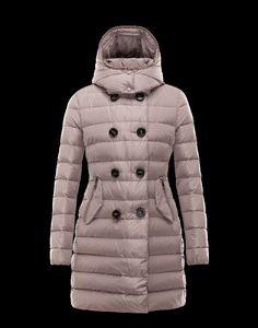 Manteau long MONCLER GARBET polyester Gris Tourterelle Femme 41456711MW  Outerwear Women, Official Store, Moncler 6b663493584