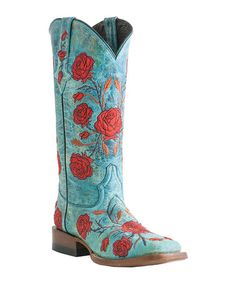 Take a look at this Turquoise Crater Cowboy Boot - Women by Lucchese on #zulily today!