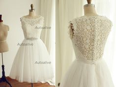 Vintage Inspired Modest Boat Neckline Lace Tulle Wedding Dress Bridal Gown Tea length Short Dress Beading Belt
