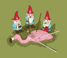 Gnomes not showing any love for plastic flamingo. #gnomes #flamingo