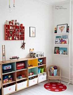 Thinking bookshelves on small wall space beside window and string lights for a cute reading area