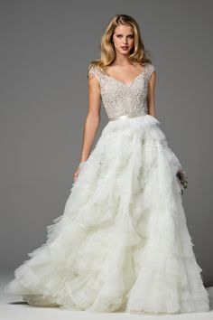 Ansel (skirt) (2082B) dress (A-line, V-Neck, Cap Sleeves, Cap Sleeve) from  Watters Brides 2017, as seen on dressfinder.ca. Click for Similar & for Store Locator.