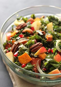 Holiday Kale Salad: Perfect for Thanksgiving and easy! | at Caras Kitchen