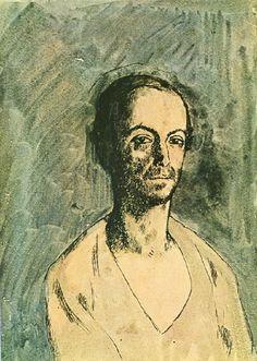 """Pablo Picasso - """"Portrait de Manolo Hugue"""". 1904"""