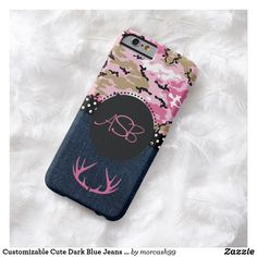 Customizable Cute Dark Blue Jeans Pink Antler Camo Barely There iPhone 6 Case Cell Phone Covers, Iphone 6 Cases, Cute Country Girl, Pink Camouflage, Phone Gadgets, Electronic Gifts, Design Case, Dark Blue Jeans, Tech Accessories