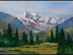 Snow capped mountain landscape watercolor painting done in a basic style for beginners in watercolor. Working mostly on dry paper, feeding color into existin...