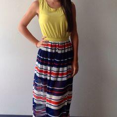 Chiffon stripe maxi dress with cut out back