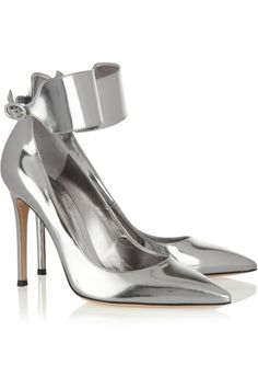 Add a touch of glam to your favourite evening dress with these lush silverankle cuff heeled courts. With a strappy design, silverankle cuff and buckle closurethese beauts will ensure you stand o…