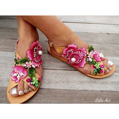 Roses sandals Handmade sandals leather sandals, Boho sandals, Women's... (€180) via Polyvore featuring shoes, sandals, embellished leather sandals, wrap sandals, bohemian style sandals, bohemian sandals and monk-strap shoes