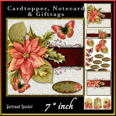 Christmas Poinsettia 713 on Craftsuprint designed by Gertraud Lueckel - 7 x 7 cardtopper with inlet, notecard and gifttags.Lovely card with leafshape decoupage and butterflies. 3 sheets 1. base and notecard 2. decoupage and sentiments 3. inlet and gifttags sentiments are: Merry Christmas, To all the family, From our home to yours, From my home to yours, Season's Greetings, Happy Holidays, With all my love and one blank - Now available for download!