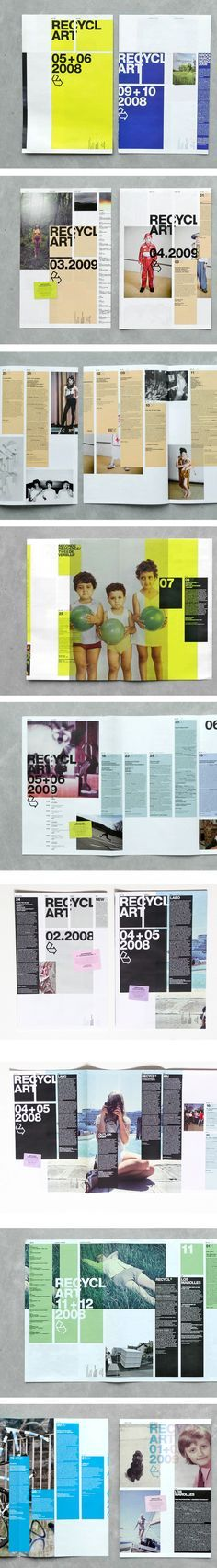 Recyclart 2009 #magazine #layout I really like the color blocks and the photos and color scheme, this might be good for a fashion or modern art magazine: