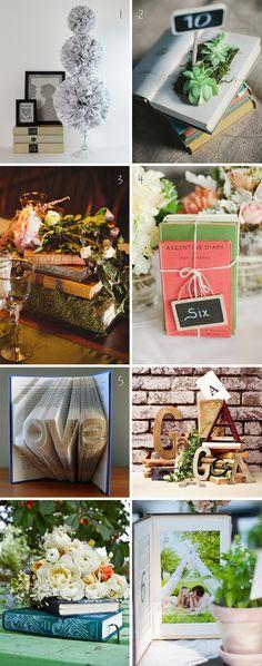 9 Book Themed Wedding Centerpieces