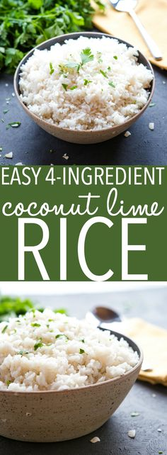 This Easy Coconut Lime Rice is the perfect side dish for all your favourite Asian-style meals! Make it in under 20 minutes with only a few simple ingredients! Easy Healthy Recipes, Gourmet Recipes, Easy Meals, Cooking Recipes, Pasta Recipes, Crockpot Recipes, Simple Meals, Rice Recipes, Recipes Dinner