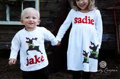 Christmas Dress Shirt Set - Brother Sister Sibling Set -  Christmas Applique Outfits. $61.00, via Etsy.
