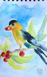 BIRDIE BIRDIE | watercolor sketch… wet on wet and glazing de… | Flickr Watercolor Journal, Watercolor Sketch, Art Sketchbook, Art Journals, Watercolors, Artist, Prints, Painting, Inspiration