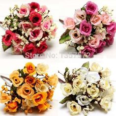 1 Bouquet 15 Heads Artificial Rose Silk Flowers Leaf Party Wedding Decoration 8x4