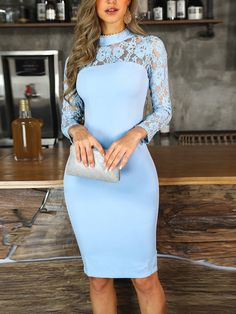 Light blue sheath dress fashion prom dress with neck lace, Shop plus-sized prom dresses for curvy figures and plus-size party dresses. Ball gowns for prom in plus sizes and short plus-sized prom dresses for Bodycon Dress With Sleeves, Sheath Dress, Look Fashion, Womens Fashion, Fashion Trends, Fall Fashion, Trending Fashion, Latest Fashion, Fashion Online