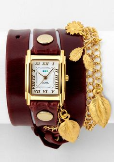 La Mer Collections - Garden Charm Wrap Watch in Wine/Gold