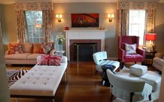 2 seating areas with fireplace in the middle