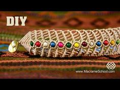 DIY Macramé Fishbone Bracelet with Beads | Macrame School - YouTube