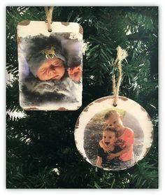 A fun DIY Craft Idea, transferring your favorite photographs to your holiday ornaments. Picture Christmas Ornaments, Noel Christmas, Diy Christmas Ornaments, Diy Christmas Gifts, Christmas Projects, Holiday Crafts, Holiday Fun, Ornaments Design, Diy Photo Ornaments