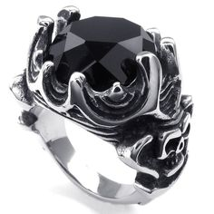 KONOV Jewelry Mens Crystal Stainless Steel Ring, Gothic Skull Crown, Black Silver, Size 8. Check it out at skullcart.com #skull #skulls #ring #skullcart #jewelry ~SheWolf★