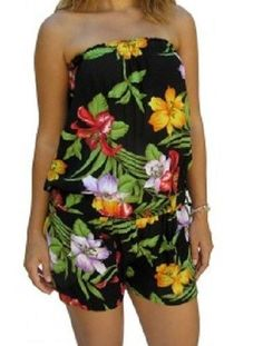 NEW HAWAIIAN FLORAL PRINT SHORT SUIT JUMPSUIT DRAWSTRING WAIST 3 SIZES 8 - 22  $39.95