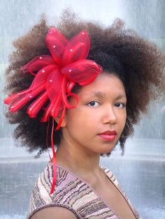 Natural Hair Accessories Headband Red Crin Fascinator Afro by Boutique de Bandeaux, via Flickr