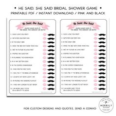 He Said She Said  Black and Pink Printable by MERRILYDESIGNS