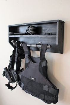 Wall Mounted Duty and Tactical Gear Rack Small Based off the same design as its larger cousin here: Police Gear Stand, Police Duty Gear, Tactical Wall, Tactical Gear, Airsoft, Warrior Rack, Garage Workshop Organization, Gun Rooms, Gear Rack