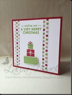 Christmas card using stampin up Wishing You & Season of Style DSP by Laura Mackie Stamped Christmas Cards, Stampin Up Christmas, Very Merry Christmas, Xmas Cards, Holiday Cards, Greeting Cards, Washi Tape Cards, Christmas Inspiration, Christmas Ideas