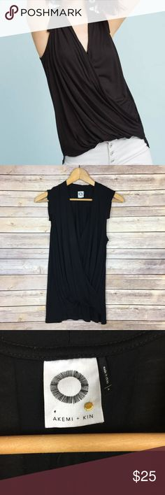 """Anthro Akemi + Kin Wrapped V-Neck Tank Top All measurements are approximate  Back hem to bottom hem: 24.3"""" Pit to pit: 19.5""""  A165  Great condition! Anthropologie Tops Blouses"""