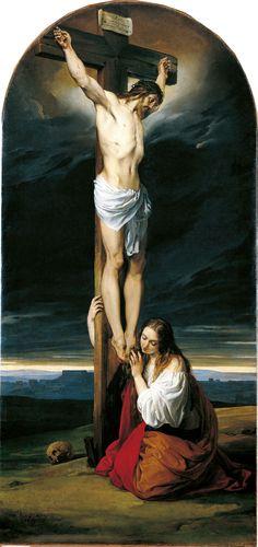 Francesco Hayez Crocifisso con la Maddalena genuflessa e piangente