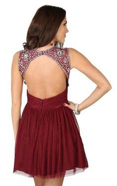 Short Homecoming Dress with Stone Trim Keyhole Back