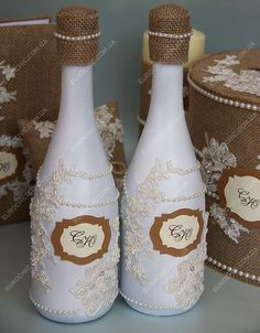 Декор шампанского RUSTIC WEDDING CHIC