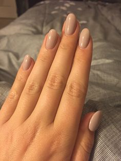 Nude rounded acrylic nails