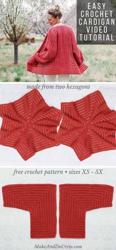 Easy Crochet Cardigan Video Tutorial - free pattern made from two hexagons! - Make & Do Crew Easy Crochet Cardigan Video Tutorial – free pattern made from two hexagons! – Make & Do Crew Pull Crochet, Mode Crochet, Crochet Gratis, Crochet Cardigan Pattern, Crochet Shawl, Knit Crochet, Shrug Pattern, Crochet Sweaters, Crochet Shrugs