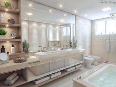 """635 curtidas, 28 comentários - Paola Cury Arquitetura e Eng. (@pacuryarqeng) no Instagram: """"De hoje: banheiro da suíte master, daqueles com duas cubas que eu já queria pra mim! Detalhes:…"""""""
