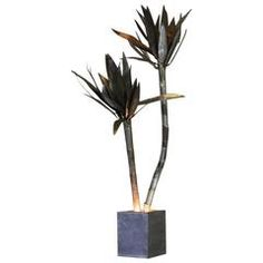 Large Metal Palm Lamp, Italy, 1970s