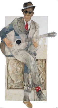 Large Oil and Mixed media painting on wood of vintage guitar player wearing a grey suit, vintage hat and red patriotic socks.  Painted by Famous Argentine Artist Juan Francisco Adaro.  Available at Adaro Art Gallery in Grayton Beach FL