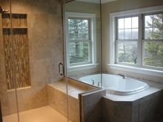 Perfect way to add a soaking tub into the master bathroom ...