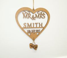 Personalised Laser Cut Wedding Mr & Mrs Date Cake Topper Surname, Last Name