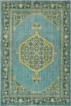 Zahra Teal/Lime/Olive Area Rug