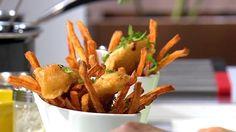 """- Plat / Poisson -  Anne Alassane vous propose son """"Fish & Chips"""" d'après la recette """"Filet de bar rôti a l'unilatéral"""" de Christine Touchard"""