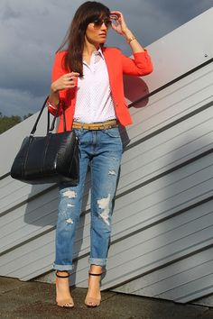 Sheinside Shirt, Zara Blazer, Zara Jeans, Mango Bag, Zara Sandals, Accessorize Ring, Ray Ban Sunglasses