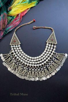 Vintage Kashmiri Multi-Strand Beaded Tribal Necklace