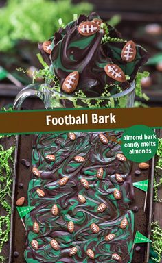 Football Bark Football Bark,The First Year MOST POPULAR RECIPES This recipe for football bark is perfect for game day or super bowl! Only 7 ingredients and ready in under 2 hours. Football Treats, Football Food, Dessert Party, Superbowl Desserts, Thanksgiving, Game Day Food, Rind, Tailgate Parties, Football Parties