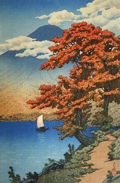 Lake Chuzenji, Nikko by Kawase Hasui, 1930  Reminds me of Maxfield Parish TB