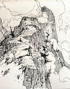 pen and ink illustrations brownie o que acompanha - Brownie Landscape Sketch, Landscape Drawings, Landscape Wallpaper, Landscapes, Ink Illustrations, Illustration Art, Drawing Sketches, Art Drawings, Sketchbook Inspiration